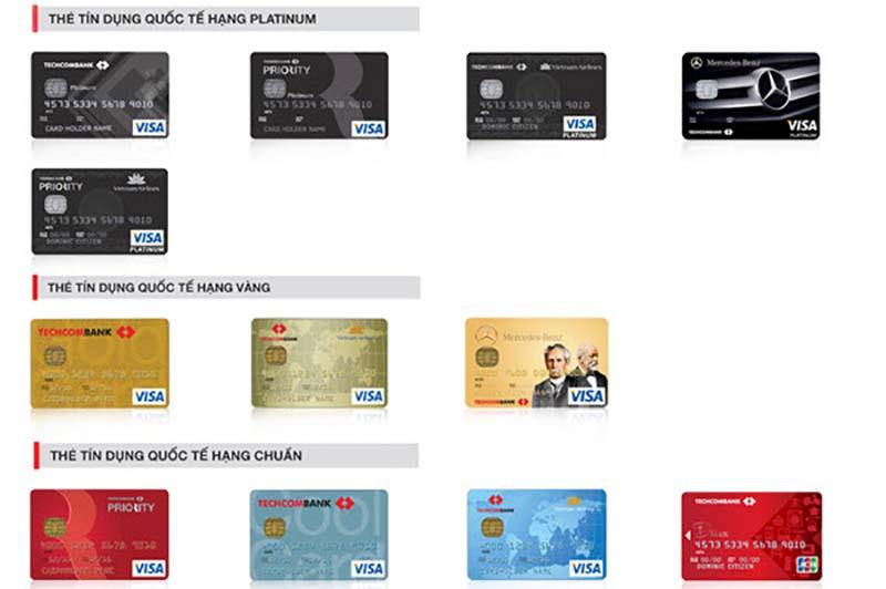 Các loại thẻ được phát hành bởi ngân hàng Techcombank