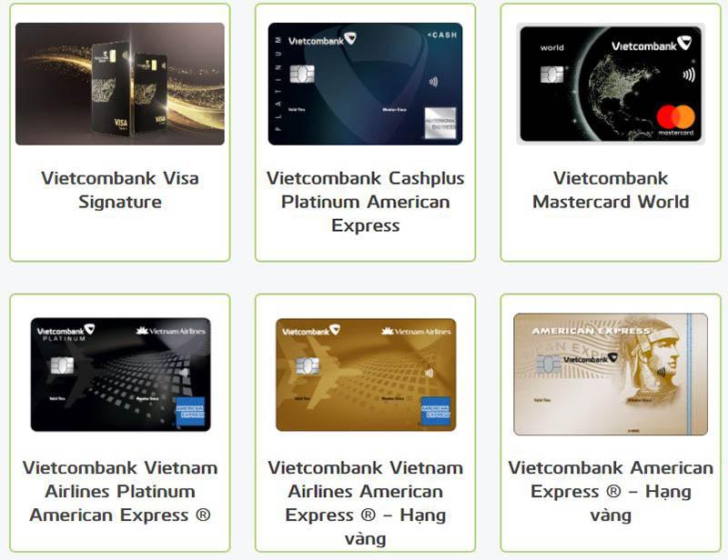 Vietcombank phát hành 17 thẻ tín dụng quốc tế, 4 thẻ ghi nợ quốc tế và 3 thẻ ghi nợ nội địa