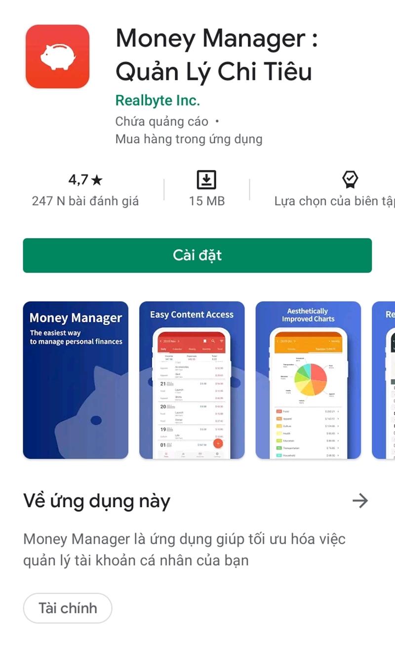 Ứng dụng quản lý chi tiêu Money Manager
