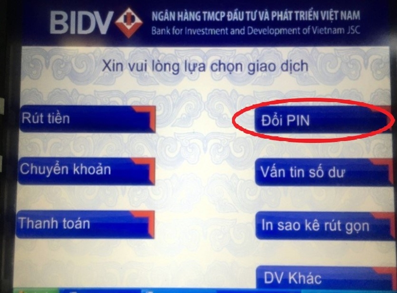"""Nhấp vào """"Đổi PIN"""" để tiến hàng đổi mã PIN mới"""