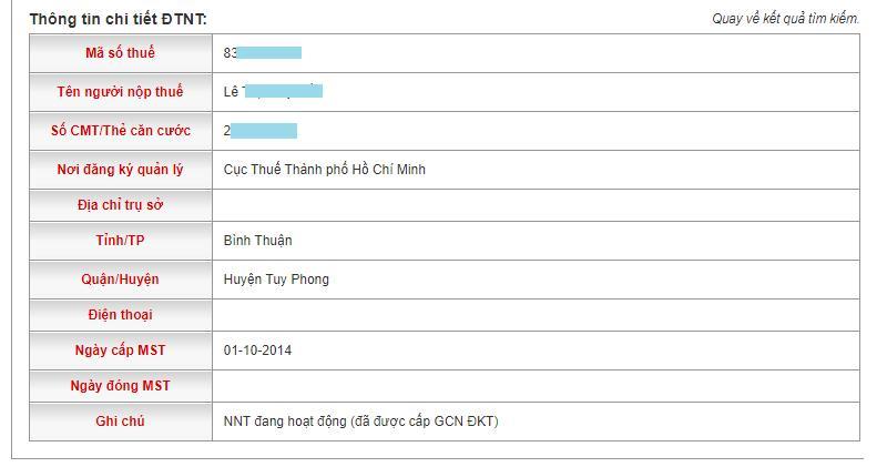 Kết quả tra cứu số CMND online chi tiết