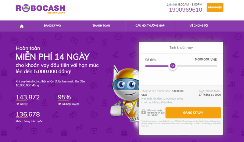 Robocash là ứng dụng vay tiền hoàn toàn tự động giúp rút ngắn thời gian và thủ tục vay tối đa