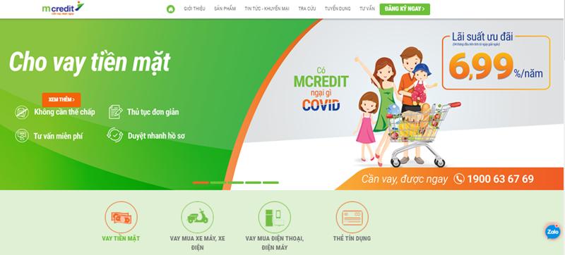 Mcredit chủ yếu cung cấp hai loại dịch vụ là Cho vay tiền mặt và Cho vay trả góp với hình thức đa dạng nhất hiện nay nền tảng công nghệ hiện đại