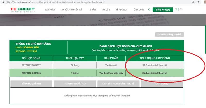 Các thông tin về hợp động FE Credit sẽ được hiển thị trên màn hình