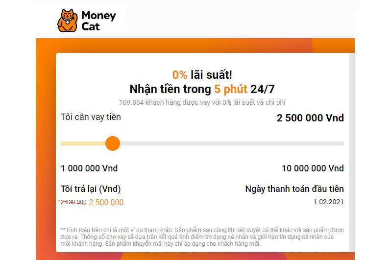Moneycat hỗ trợ vay vốn nhanh không chứng minh thu nhập với lãi suất hấp dẫn
